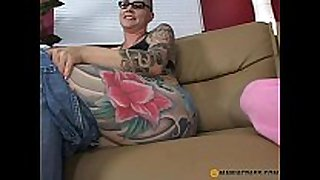 Teeny drilled by tattooed mommy